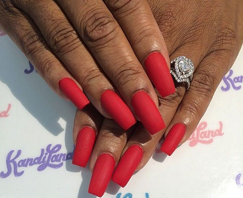 Long-Red-Matte-Nails